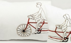 Pillow case set with cyclists